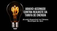 Abaixo-assinado contra reajuste da tarifa de energia está disponível na Câmara Municipal de Jaru