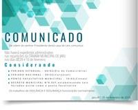COMUNICADO: FERIADO E PONTO FACULTATIVO